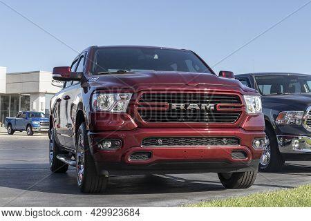 Kokomo - Circa August 2021: Ram 1500 On Display At A Chrysler Ram Dealership. The Stellantis Subsidi