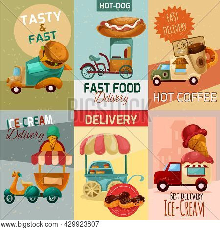Fast Food Delivery Trucks Mini Posters Set Isolated Vector Illustration