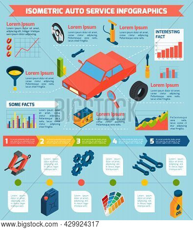 Auto Service Repair Parts And Consumables With Statistics And Stages Isometric Infographics Vector I