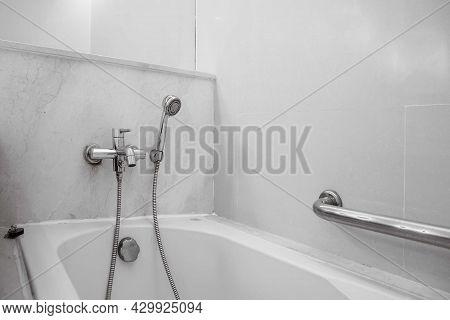 Bath Tub In A Small Bathroom At The Apartment