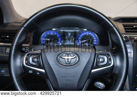 Novosibirsk, Russia - July 21, 2021: Toyota Camry,  Cockpit Interior Cabin Details, Speedometer And
