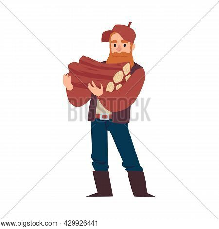 Lumberjack Or Woodcutter Holding Timbers, Flat Vector Illustration Isolated.