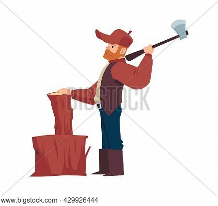 Woodcutter Or Lumberjack Chopping Wood With Axe, Vector Illustration Isolated.