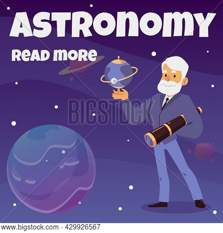 Astronomer Scientist Holding Telescope And Globe Earth A Vector Illustration.