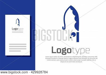 Blue Fishing Rod Icon Isolated On White Background. Catch A Big Fish. Fishing Equipment And Fish Far