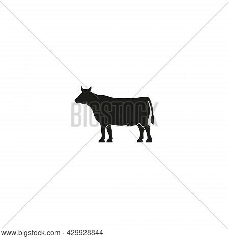 Vector Illustration Of A Cow For An Icon Or Symbol. Cow Farm Logo