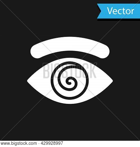 White Hypnosis Icon Isolated On Black Background. Human Eye With Spiral Hypnotic Iris. Vector