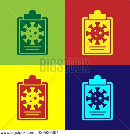 Pop Art Medical Clipboard With Blood Test Results Icon Isolated On Color Background. Clinical Record