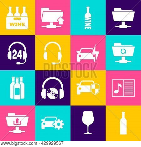 Set Bottle Of Wine, Music Book With Note, Ftp Sync Refresh, , Headphones Microphone And For Support