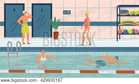 People Swim In Public Swimming Pool Concept Vector Illustration Set. Sport Swimming Pool Interior. M