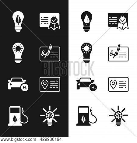 Set Signed Document, Solar Energy Panel, Light Bulb With Leaf, Certificate Template, Hydrogen Car, A