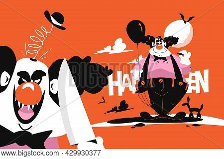 Happy And Angry Clown Vector Illustration. Joker In Black And White Costume With Balloon And Knife F