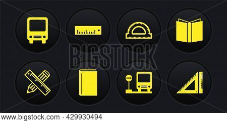 Set Crossed Ruler And Pencil, Open Book, Book, Bus Stop, Protractor Grid, Ruler, Triangular And Icon