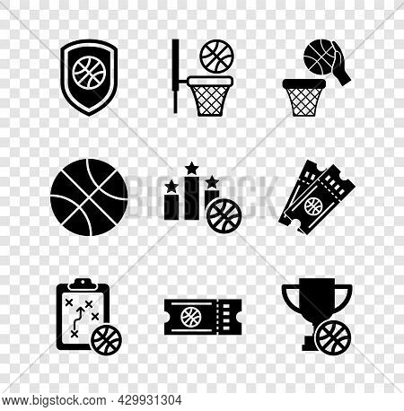 Set Shield In The Basketball Ball, Basketball And, Planning Strategy, Game Ticket, Award Cup With, A
