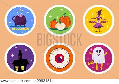 Set Halloween Stickers In Round Shape With Pumpkins, Creepy House, Witch Skull And Happy Halloween I