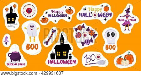 Set Of Free-form Halloween Stickers With Pumpkins, Creepy House, A Witch Skull And Happy Halloween I