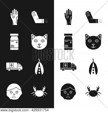 Set Pet, Medicine Bottle And Pills, Hand With Psoriasis Or Eczema, Inhaler, Emergency Car, Kidney Be
