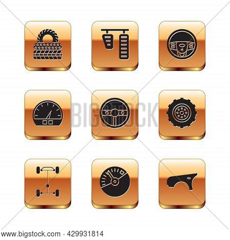 Set Car Tire, Chassis Car, Speedometer, Steering Wheel, Fender And Gas And Brake Pedals Icon. Vector