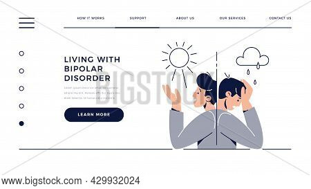 Bipolar Disorder Web Template. Man Suffers From Mood Swings, Split Mania And Depression Period. Mani