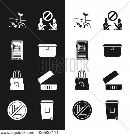 Set Lunch Box, Stop Plastic Pollution, Problem Of Planet, Shopping Bag With Recycle, Trash Can And S