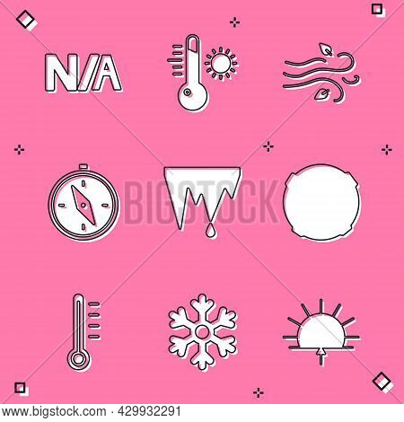 Set Not Applicable, Meteorology Thermometer, Wind, Compass, Icicle, Moon, And Snowflake Icon. Vector