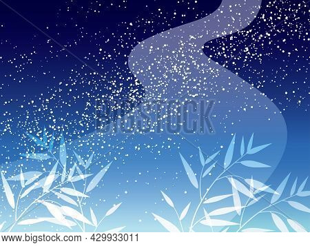 Milky Way And Bamboo Leaves Background For The Japanese Tanabata Star Festival, Vector Illustration.