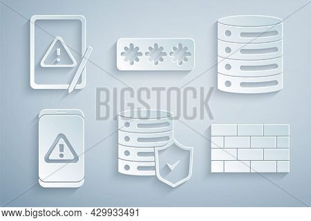 Set Server With Shield, Server, Data, Web Hosting, Mobile Exclamation Mark, Firewall, Security Wall,