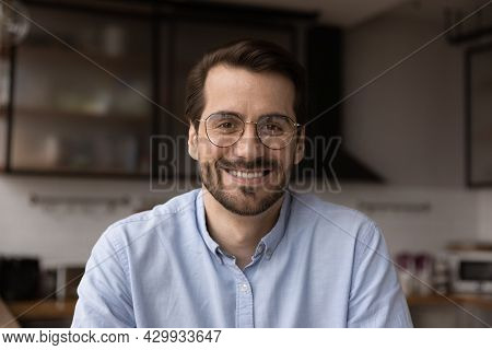 Headshot Profile Picture Young Businessman Sit In Kitchen Webcam View