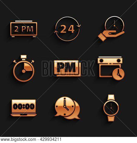 Set Clock Pm, Speech Bubble, Wrist Watch, Calendar And Clock, On Laptop, Stopwatch, And Digital Alar