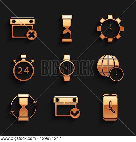 Set Wrist Watch, Calendar With Check Mark, Alarm Clock App Mobile, World Time, Old Hourglass, Stopwa