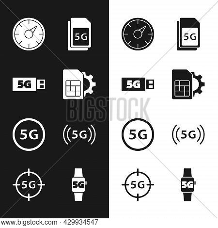 Set Sim Card Setting, 5g Modem, Digital Speed Meter, Card, Network, Smart Watch And Icon. Vector