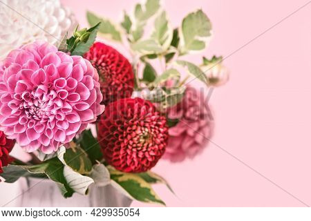 Autumn Bouquet Of Beautiful Flowers. Autumn Festive Decoration In Pink Colors, Selective Focus