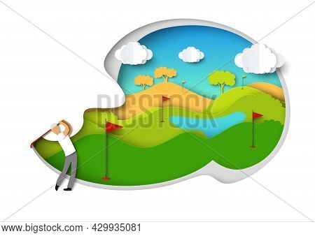 Golfing. Golfer Swinging Golf Club, Vector Illustration In Paper Art Style. Man Playing Golf Sport G