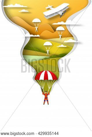 Skydiving, Paragliding Sport. People Jumping With Parachute, Flying Over Hills And River, Vector Pap