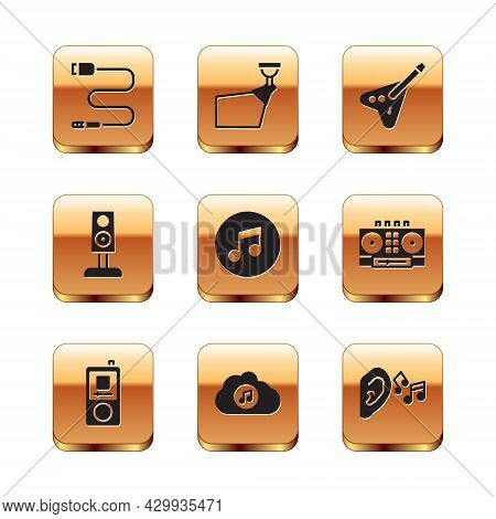 Set Audio Jack, Music Player, Streaming Service, Note, Tone, Stereo Speaker, Electric Bass Guitar, E