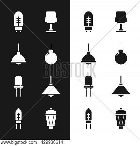 Set Lamp Hanging, Light Emitting Diode, Table Lamp, Garden Light And Icon. Vector