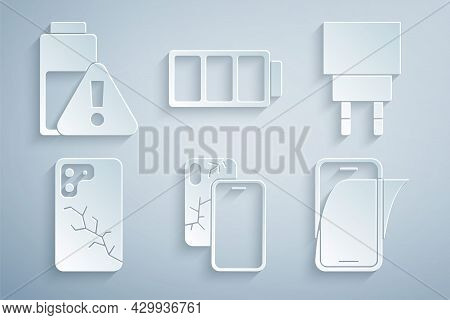 Set Mobile With Broken Screen, Charger, Glass Protector, Battery And Smartphone Battery Charge Icon.