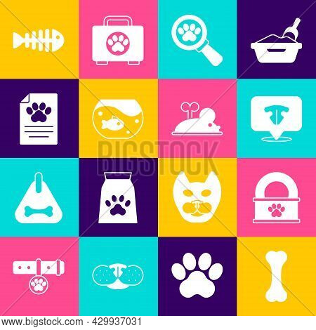Set Dog Bone, Canned Food, Cat Nose, Veterinary Clinic, Aquarium With Fish, Clinical Record Pet, Fis