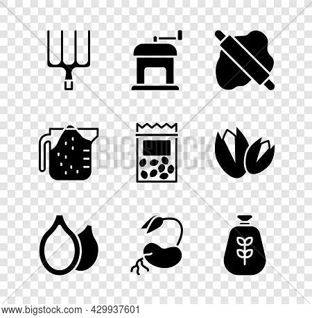 Set Garden Pitchfork, Manual Coffee Grinder, Rolling Pin On Dough, Pumpkin Seeds, Sprout, Bag Flour,