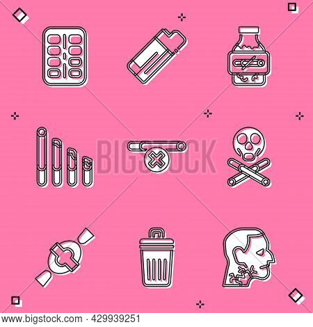 Set Nicotine Gum In Blister Pack, Lighter, Smoking Cigarette, No Smoking, Bones And Skull, Candy And