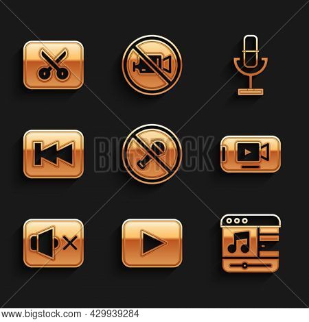 Set Mute Microphone, Play Button, Music Player, Online Video, Speaker Mute, Rewind, Microphone And O