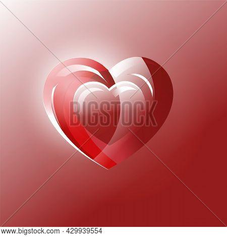 Luminous Three Dimensional Beautiful Bright Red Heart