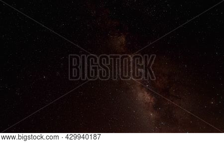 The Cosmic Landscape Was Captured In The Milky Way Galaxy With Stars On The Night Sky Background. Th