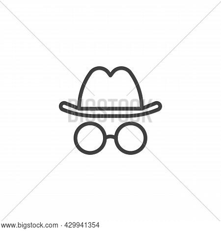 Incognito Line Icon. Linear Style Sign For Mobile Concept And Web Design. Hat And Glasses Outline Ve