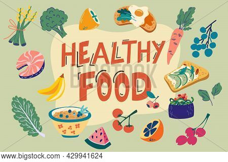 Healthy Food Items Set. Hand Draw Everyday Food Products. Vegetables And Fruits. World Food Day. Col