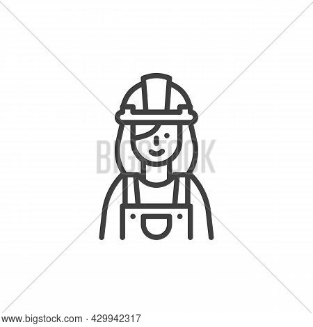 Woman Construction Worker Line Icon. Linear Style Sign For Mobile Concept And Web Design. Constructi