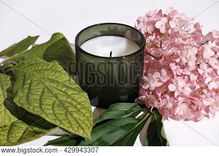 Green Scented Candle And Hydrangea Flowers. Home Fragrances For Relaxation And Calm. Flower Fragranc