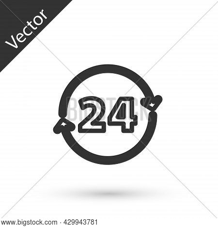 Grey Line Clock 24 Hours Icon Isolated On White Background. All Day Cyclic Icon. 24 Hours Service Sy
