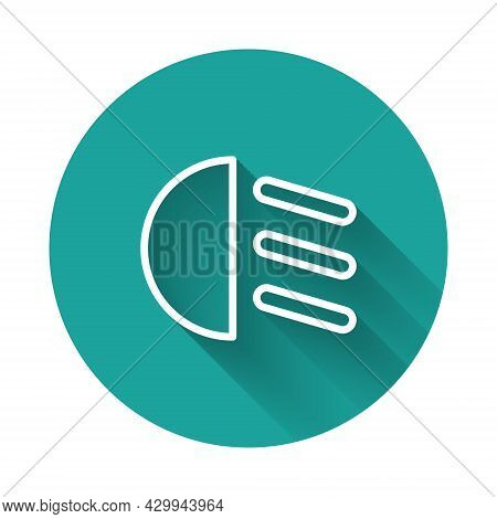 White Line High Beam Icon Isolated With Long Shadow. Car Headlight. Green Circle Button. Vector