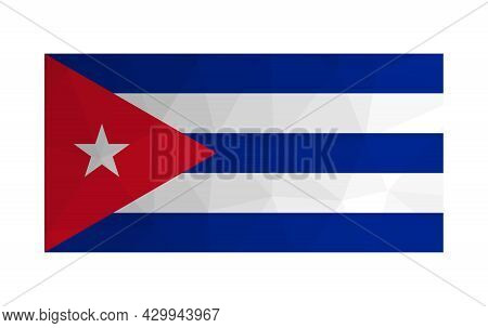 Vector Isolated Illustration. National Cuban Flag. Official Symbol Of Cuba. Creative Design In Low P